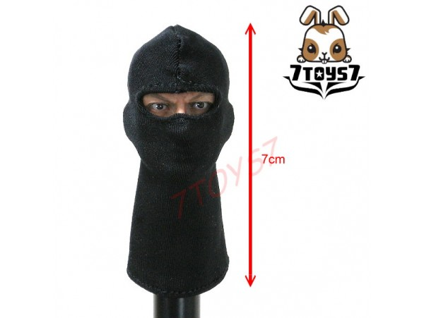 7Toys7 1/6_ A34 Plain Balaclava _Black SWAT Figure Mask 7T004A