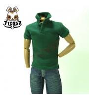 7Toys7 1/6 A26 Polo Shirt_ Pine Green Short Sleeves _Black button Fashion 7T016B