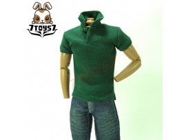 7Toys7 1/6 A26 Polo Shirt_ Pine Green Short Sleeves _Black button Fashion 7T016B
