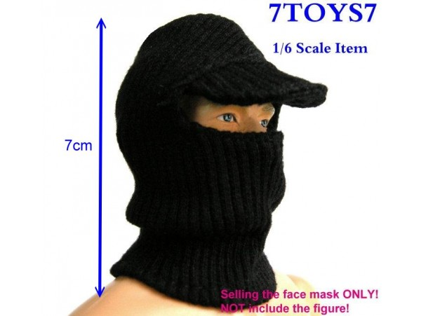 7Toys7 1/6 A02 Black Visor Face Mask / Balaclava _SWAT Figure Mask 7TA02A