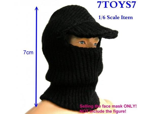 7Toys7 1/6 A02 Black Visor Face Mask / Balaclava _SWAT Figure Mask 7TA02A