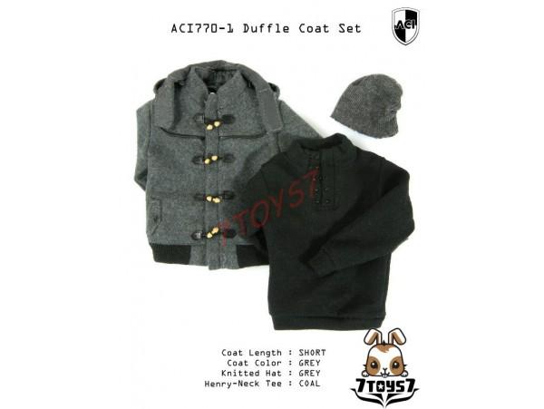 ACI Toys 1/6 Duffle Coat Set (ACI770-1)_ Set #1 Short Gray Coat AT074Z