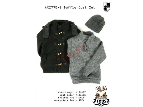ACI Toys 1/6 Duffle Coat Set (ACI-770-2)_ Set #2 Short Black Coat AT075Z