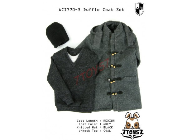 ACI Toys 1/6 Duffle Coat Set (ACI-770-3)_ Set #3 Medium Gray Coat AT076Z