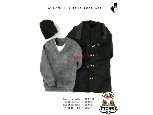 ACI Toys 1/6 Duffle Coat Set (ACI-770-4)_ Set #4 Medium Black Coat Set AT077Z