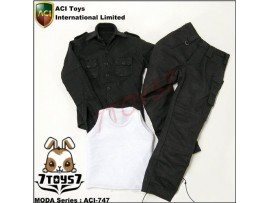 ACI Toys 1/6 Moda 747_ Black Set: Military Shirt, Vest and Cargo Pants _AT039Y
