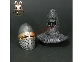 ACI Toys 1/6 Knight Hospitaller Crusader_Helmet + Chain mail coif w/ head_AT072I