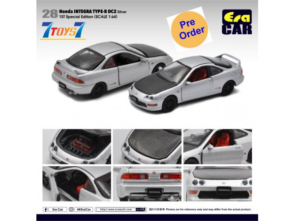 [Pre-order deposit] Era Car 1/64 28 Honda Integra Type-R DC2_ Silver (1st Special Edition) Die-cast Model Car _ER022C