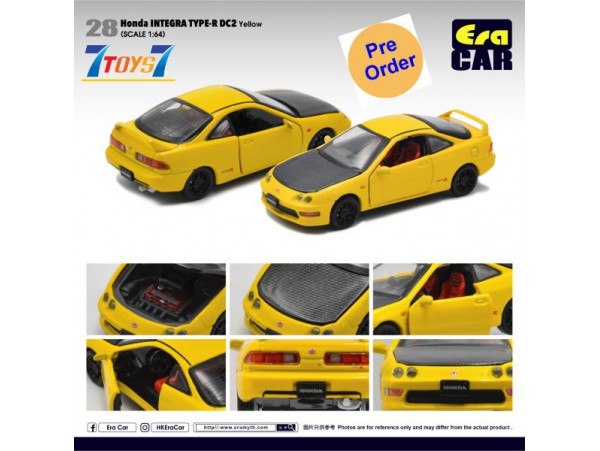[Pre-order deposit] Era Car 1/64 28 Honda Integra Type-R DC2_ Yellow Die-cast Model Car _ER022D