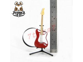 F-Toys 1/12 Guitar MONO + Stand + strap #1A _Stratype Candy apple red FT048A