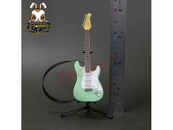 F-Toys 1/12 Guitar MONO + Stand + strap #1B _Stratype Surf green FT048B