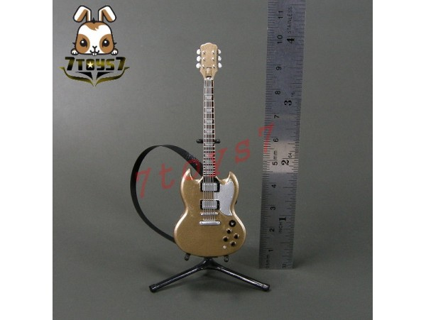 F-Toys 1/12 Guitar MONO + Stand + strap #2sp _Solid Guitar type Gold FT048K