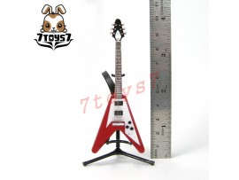 F-Toys 1/12 Guitar MONO + Stand + strap #3A _V shape type Mahogany red FT048G