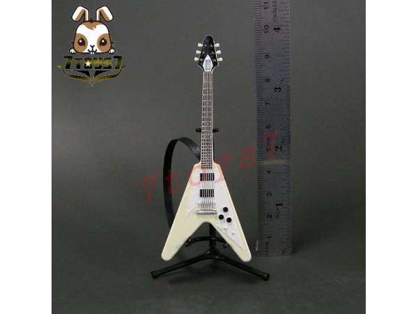 F-Toys 1/12 Guitar MONO + Stand + strap #3B _V shape type Vintage White FT048H