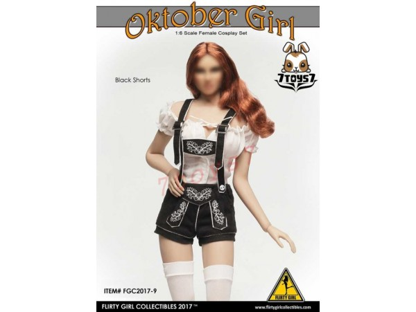 Flirty Girl 1/6 Female Costume Oktober Girl_Black Shorts suit Set_Cosplay FG024A