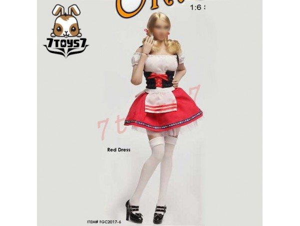 Flirty Girl 1/6 Female Costume Oktober Girl_ Red Dress suit Set _Cosplay FG023A