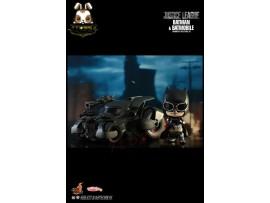 """Hot Toys Cosbaby 4"""" Justice League: Batman & Batmobile_ Box Set _Now HT362A"""