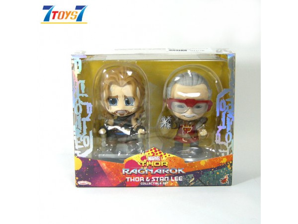 "Hot Toys Cosbaby 4"" Thor Ragnarok Stan Lee & Thor_ Set _HT477B"