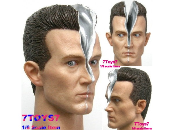 Hot Toys 1/6 Terminator 2:T1000_ Head #2 Damaged Wounded _T2 Now HT047K