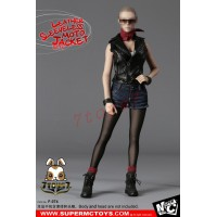 Super MC Toys 1/6 F-074 Leather Sleeveless Moto Jacket_ Female Costume Sets _Magic Cube ZZ105J