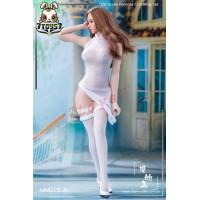 Manmodel 1/6 MM015A High split translucent cheongsam dress suit_ White Set _MM006A