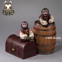 Mr. Z 1/6 Pirate Monkey, Barrels & The Treasure Chest_ Set _Now MRZ011Z