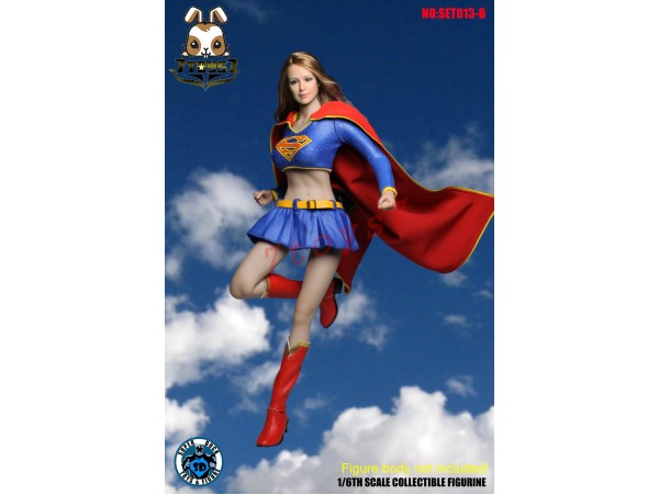 Super Duck 1/6 SET013B Supergirl_ Costume Set w/ Head _Cosplay Now SD038B