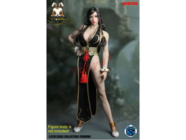 Super Duck 1/6 SET016 Chinese Female Fighter 2_ Costume Set w/ Head _Now SD042B