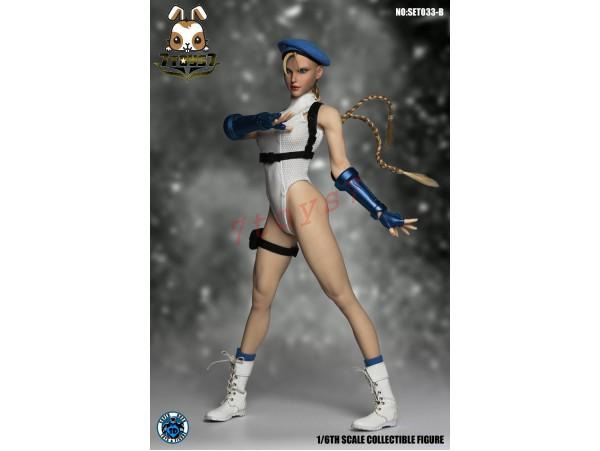 Super Duck 1/6 SET033B Fighting Girls Cosplay_ White Costume w/ Head Set _SD060B