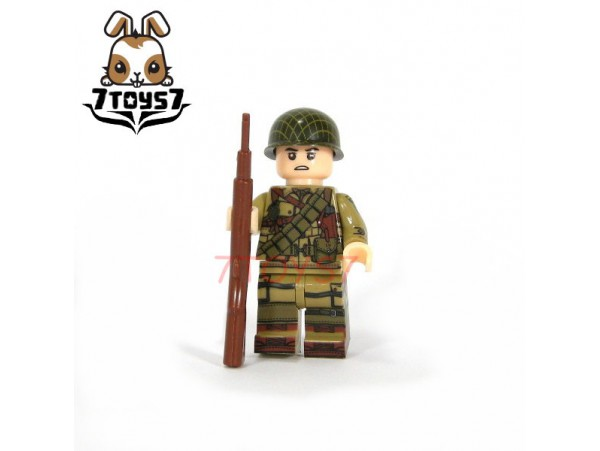 U-Custom WWII US 101 Airborne Trooper M1 Grand_ Minifigure _brick UC004A
