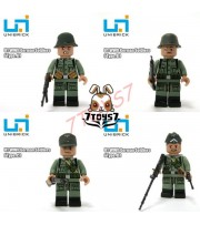 Unibrick Minifig WWII German Soldier_Set /4_Brick Army Builder Minifigure UN003Z