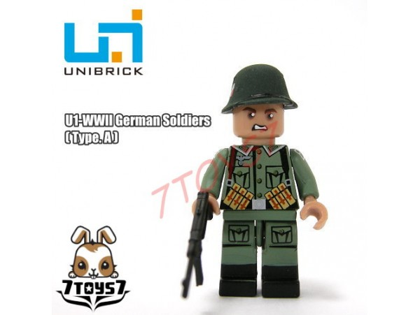 Unibrick Minifig WWII German Soldier #A w/ Machine gun _Brick UN003A