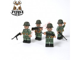 Unibrick Minifig WWII German Soldier #A w/ Machine gun_ Figure x 4 Set _Brick UN003AA