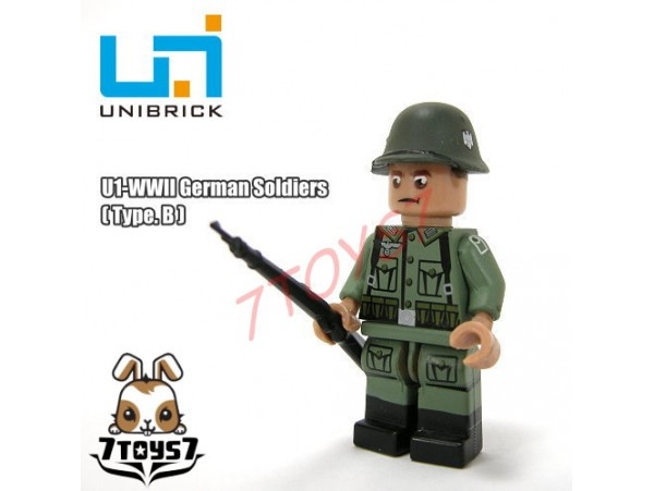 Unibrick Minifig WWII German Soldier #B w/ Rifle _Brick UN003B