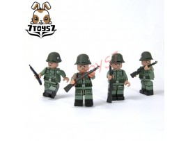 Unibrick Minifig WWII German Soldier #B w/ Rifle_ Figure x 4 Set _Brick UN003BB