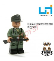 Unibrick Minifig WWII German Soldier #C w/ Rifle _Brick Army minifigure UN003C