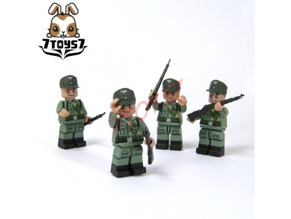 Unibrick Minifig WWII German Soldier #D w/ Machine gun pistol_ Figure x 4 Set _Brick UN003DD
