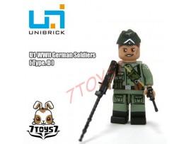 Unibrick Minifig WWII German Soldier #D w/ Machine gun pistol _Brick UN003D