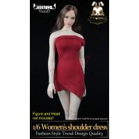 VORTOYS 1/6 V1011D Women Shoulder Dress_ Red Set _Female Fashion ZZ060T