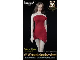 VORTOYS 1/6 V1011D Women Shoulder Dress_ Red Set _Female Fashion ZZ060T