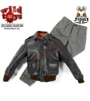 Wild Toys 1/6 A2_ Black Jacket + Gray Chino Set _Leather-like WT018B