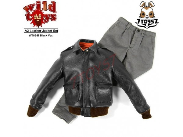 Wild Toys 1/6 A2_ Black Jacket + Gray Chino Set _Leather-like WT018B