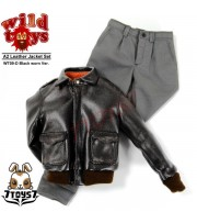 Wild Toys 1/6 A2_ Black Worn Jacket + Grey Chino Set _Leather-like Now WT018D