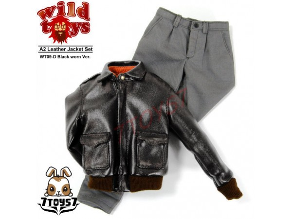 Wild Toys 1/6 A2_ Black Worn Jacket + Grey Chino Set _Leather-like Now WT018D