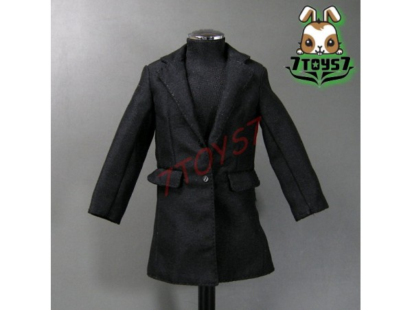 Wild Toys 1/6 Agent James Trench Coat Set_ Black Overcoat _007 UK MI6 ACI WT030C