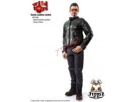 Wild Toys 1/6 Sands_ Black motorbiker Jacket Set w/ Grey pants_Leather-lik WT021X