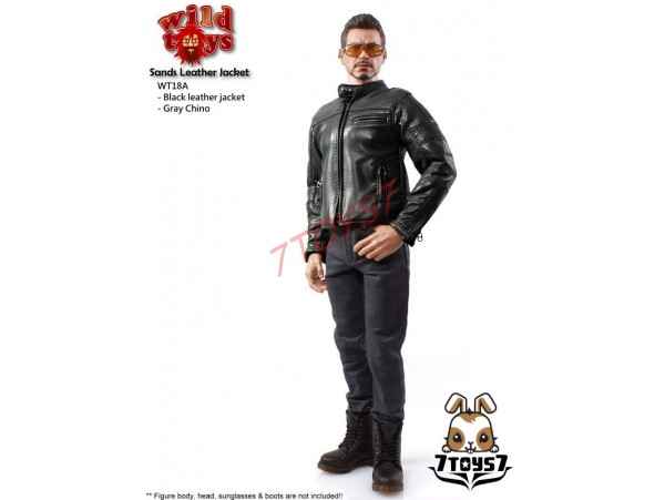 Wild Toys 1/6 Sands_ Black motorbiker Jacket Set w/ Grey pants_Leather-lik WT021X