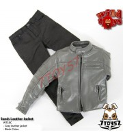 Wild Toys 1/6 Sands_Grey motorbiker Jacket Set w/ Black pants_Leather-lik WT021Z