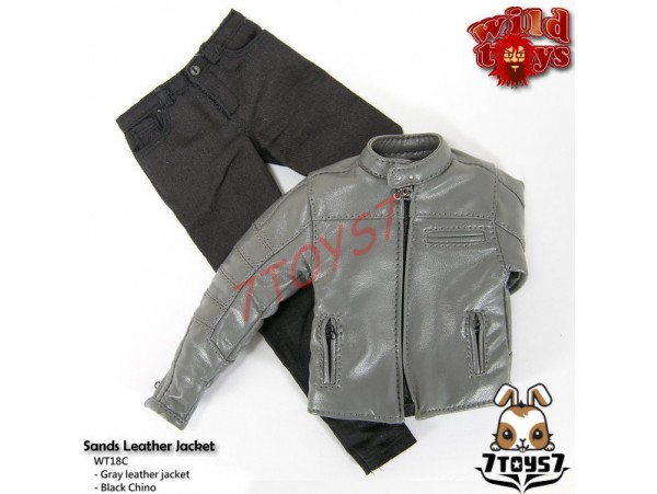 Wild Toys 1/6 Sands_Grey motorbiker Jacket Set w/ Black pants_Leather-lik WT021Z