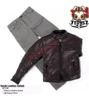 Wild Toys 1/6 Sands_ Tobacoo motor biker Jacket Set w/ Light Grey pants _WT021Y